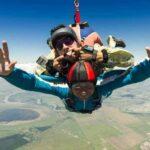 tandem skydiving grimace