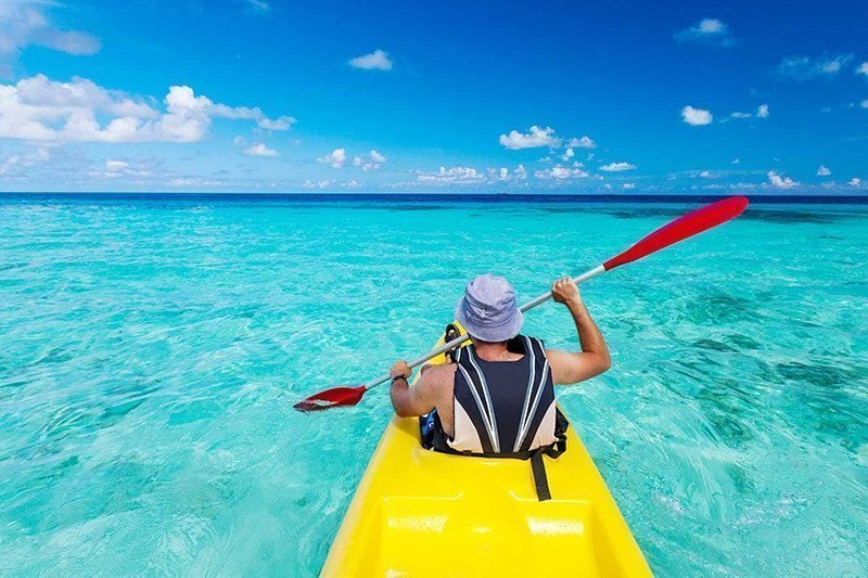 kayaking in clear blue water gallery extrevity